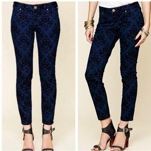 LIKE NEW Free People Brocade Flocked Skinny Jeans